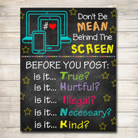 Anti Cyber Bully Poster Classroom Decor Counselor Office Poster, Computers Class Sign Educational Classroom Decorations, Computer Lab Poster