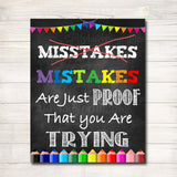 Classroom Decor, Mistakes Are Proof You're Trying Poster, Counselor Office Poster, Social Work Office Art, Educational Motivational Poster