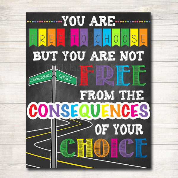 Classroom Decor, Consequences Poster Inspirational Art, Counselor Office Poster, Social Work Office Art, High School Motivational Poster Art