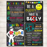 Anti Bully Poster Pack, Classroom Decor, Counselor Office Decor, Educational Classroom Decor, No Bullying Prevention Signs School Office Art