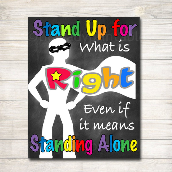 Classroom Decor, Counselor Office Poster, Stand Up for What is Right Motivational Poster, Classroom Decorations, School Superhero Classroom