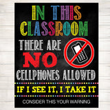 No Cellphones Allowed School Poster, Classroom Decor, Classroom Management INSTANT DOWNLOAD, Classroom Poster, no phones sign, No Phone Zone