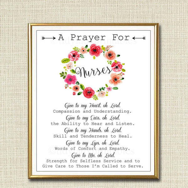 Nurse Prayer Art, Nursing Gift, Religious Nurse Wall Art, Nursing Student Gift, Nurse Office Decor INSTANT DOWNLOAD Nurse Wall Art Printable