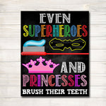 Kids Bathroom Art, Pediatric Dental Office Art, Daycare Bathroom Art, Superhero Bathroom Posters, INSTANT DOWNLOAD, Kids Oral Hygiene Poster