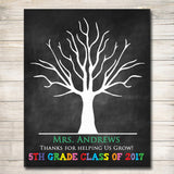 EDITABLE Teacher Gift Chalkboard Printable Class Thumbprint Art, Teacher Thumbprint Tree Poster Teacher Appreciation Week Teacher Class Gift