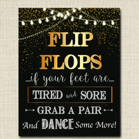 Flip Flop Wedding Sign, Black and Gold Party Decor, Wedding Party Dance Sign, Sore Feet Sign, Party Decorations, Printable, INSTANT DOWNLOAD