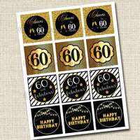60th Birthday Cupcake Toppers PRINTABLE Cheers to Sixy Years, Cupcake Decoration 60th Birthday Cake Decor, 60th Party Decor INSTANT DOWNLOAD