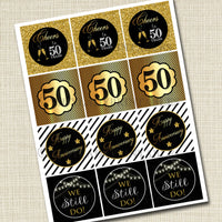 50th Anniversary Cupcake Toppers, PRINTABLE, Cheers to 50 Years, Cupcake Decoration, 50th Wedding Anniversary, 50th Anniversary Party Decor