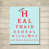 Health Aide Office Decor, School Health Aide Poster, Nurse Decor,  INSTANT DOWNLOAD, Health Room Art, Doctor Office Decor, Love and Bandaids