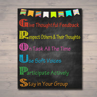 GROUPS Classroom Poster, Classroom Decor, Classroom Management, Teacher Printables, Educational Poster, Elementary Teacher, INSTANT DOWNLOAD