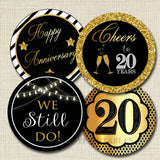 20th Anniversary Cupcake Toppers PRINTABLE Cheers to Twenty Years Cupcake Decoration 20th Anniversary Cake 20th Party Decor INSTANT DOWNLOAD