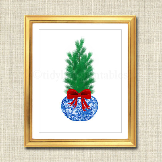 Christmas Blue and White Ginger Jar Digital Art Print, Chinoisierie Chic INSTANT DOWNLOAD Blue and White Porcelain Giclee, Holiday Blue Ming