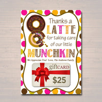 EDITABLE Thanks a Latte Coffee Donut Gift Card Holder, Printable Teacher Appreciation, Daycare Teacher Gift Babysitter Gift INSTANT DOWNLOAD