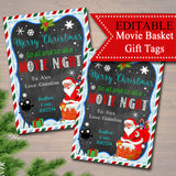 EDITABLE Christmas Movie Gift Tags, Secret Santa, Printable Teacher Gift, Merry Christmas To All & To All a Movie Night, INSTANT DOWNLOAD
