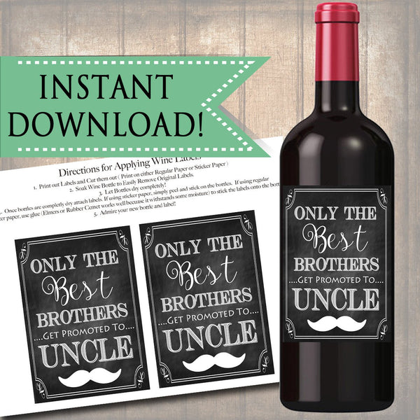 Best Brothers Get Promoted to Uncle, Beer & Wine Label Pregnancy Announcement INSTANT DOWNLOAD, You're Going to Be An Uncle Pregnancy Reveal