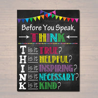 PRINTABLE Think Before You Speak Sign, , Printable Classroom Decor, Motivational Poster, Counselor Art, Teacher Printables