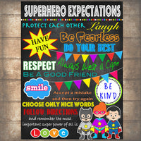 Superhero Classroom Rules Poster, PRINTABLE, INSTANT DOWNLOAD SuperHero Teacher Sign, Superhero Bedroom Decor, Superhero Chalkboard Wall Art