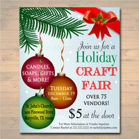 EDITABLE Holiday Craft Fair Flyer, Christmas Craft Show Invitation Christmas Party Invitation Printable Community Holiday Event Church Flyer