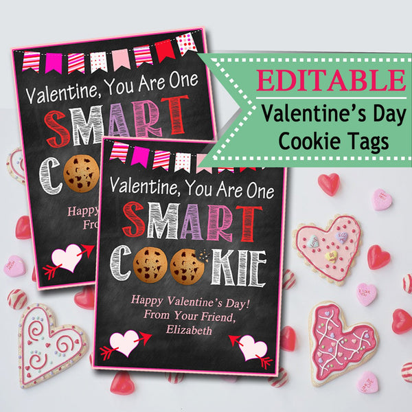 EDITABLE Valentine's Day Tags, INSTANT DOWNLOAD, Printable Kids Cookie Valentine, Classroom Valentines, You Are One Smart Cookie Valentine