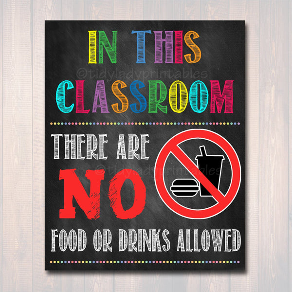 No Food or Drinks Allowed School Poster, Classroom Decor, Classroom Management INSTANT DOWNLOAD, Classroom Poster, no food sign, Class Rules