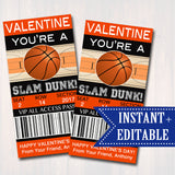EDITABLE Basketball Ticket Valentine's Day Cards, INSTANT DOWNLOAD, Printable Kids Valentine, Boy Classroom Valentine, You're a Slam Dunk