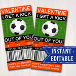 EDITABLE Soccer Ticket Valentine Day Card INSTANT DOWNLOAD Printable Kids Valentine, Futball Boy Classroom Valentine I Get a Kick Out of You