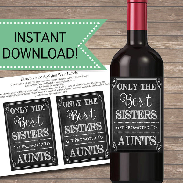 Best Sisters Get Promoted to Aunt, Beer & Wine Label Pregnancy Announcement INSTANT DOWNLOAD, You're Going to Be An Aunt Pregnancy Reveal