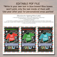 EDITABLE Ugly Sweater Party Awards, Holiday Award Labels, Chirstmas Custom Wine Labels, Ugly Sweater Prizes, Vote For the Ugliest Sweater