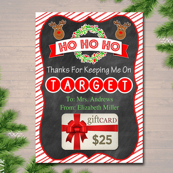 EDITABLE Christmas Target Gift Card Holder, Printable Teacher Gift, Coach Xmas Gift Card, Thanks for Keeping Me on Target, INSTANT DOWNLOAD