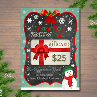 EDITABLE Christmas Thank You Snow Much Gift Card Holder, Printable Teacher Gift, Xmas Gift Card, INSTANT DOWNLOAD, Business Gift Card Holder
