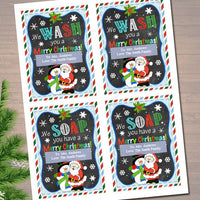 EDITABLE Christmas Soap Tags, Printable Holiday Soap Labels, Teacher Gift, We Wash You a Merry Christmas, We Soap You Have, INSTANT DOWNLOAD