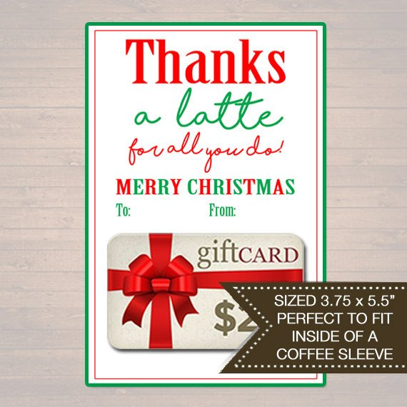 image relating to Thanks a Latte Christmas Printable referred to as Espresso Sleeve Present Card Holder, Due a Latte Trip Reward Card Holder, Printable Stocking Stuffer, Holiday vacation Instructor Presents, Quick Down load