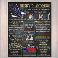 Eagle Scout Court of Honor Chalkboard Sign, Eagle Scout Poster, Personalized Eagle Scout Gift, Court of Honor Decoration,  Eagle Scout Motto
