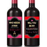 Girlfriends Valentines Day Wine Labels, Who Needs a Man, Will You be My Drinking Buddy, Funny Valentines for Singles, Friend Break Up Gift