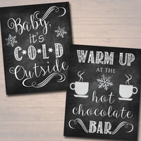 EDITABLE DIY Hot Chocolate Bar Party Set, Printable Baby It's Cold Outside Sign, Christmas Party, Winter Onederland Party, Winter Wedding