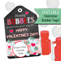 EDITABLE Valentine's Day Tags, INSTANT DOWNLOAD, Printable Kids Non-Candy Bubbles Valentine, Classroom Valentines, You Make My Heart Pop