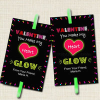 EDITABLE Valentine's Day Glow Stick Tags, INSTANT DOWNLOAD, Printable Kids Non-Candy Valentine, Classroom Valentines, You Make My Heart Glow