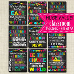 Classroom Poster Set, Decor, Motivational Teacher Chalkboard Printables, Mistakes Proof of Trying, Think Before You Speak