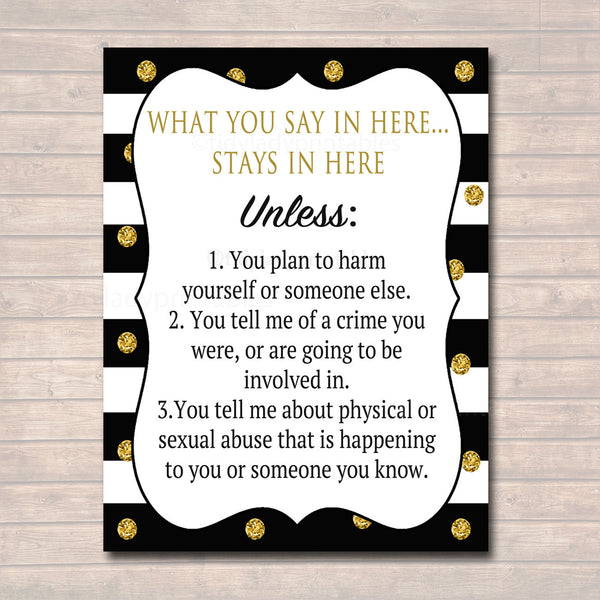 Professional Confidentiality Poster, Counselor Office Decor, Therapist, Social Worker, Counselor Gifts, What You Say in Here Stays in Here