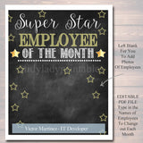 EDITABLE Employee of the Month Printable, Office Printable, Boss, Manager, Office Worker, INSTANT DOWNLOAD, Management, Office Decoration
