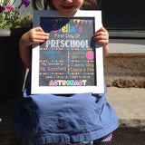 EDITABLE Girl Preschool Back to School Photo Prop, Back to School Chalkboard Poster, Personalized School Chalkboard Sign, 1st Day of School