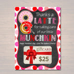 EDITABLE Valentine's Day Thanks a Latte Coffee Donut Gift Card Holder Printable Valentine's Teacher Gift, Babysitter Gift, INSTANT DOWNLOAD