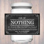 Editable Jar Of Nothing Label, Chalkboard Label Personalized Gag Gift Holiday Gift, Christmas Gift, Birthday Gift, Retirement Gift Printable