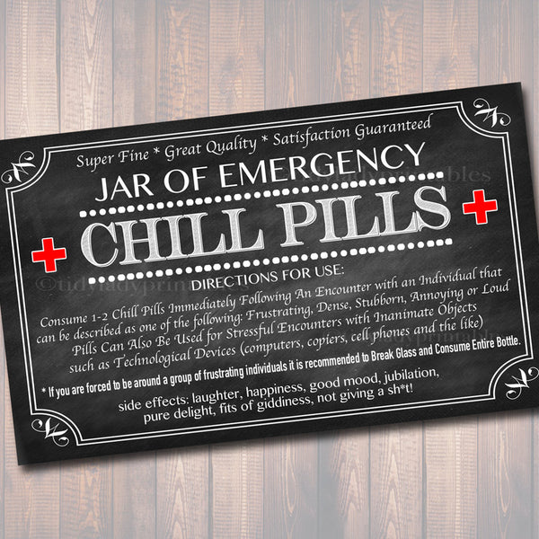 photograph regarding Printable Chill Pill Label known as Chill Tablets Label, Chalkboard Label Gag Reward Well-informed
