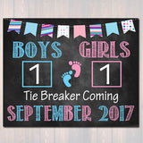 Tie Breaker Pregnancy Announcement, Printable Chalkboard Poster, Sibling Pregancy Reveal, Expecting Third Child Photo Prop Pink or Blue Sign