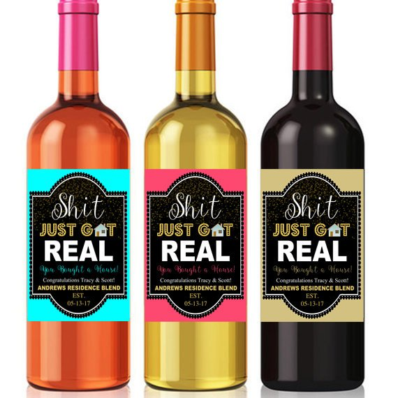 photograph relating to Printable Wine Label called EDITABLE Housewarming Reward Label Shit Basically Acquired Correct Printable Wine Bottle label Fresh new Dwelling Wine Label, Yourself Acquired a Refreshing Space Merge, Congrats