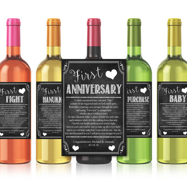 EDITABLE Jewish Marriage Firsts Wine Labels, Printable Wine Label, Marriage Milestones Gift INSTANT DOWNLOAD, First Anniversary Wedding Gift