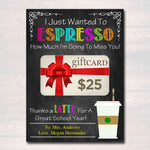 EDITABLE Coffee Card Holder, Thanks a Latte Gift Card Holder, Printable, End of the Year Teacher Gift, Teacher Appreciation INSTANT DOWNLOAD