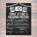 Photo Guestbook Sign, Printable Sign, Shake it like a polaroid picture, , Graduation Wedding Party, Photobooth Sign