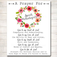 Speech Pathologist Prayer Art, SLP Gift, Religious Office Wall Art, Speech Therapist, Office Decor INSTANT DOWNLOAD Speech Language Teacher